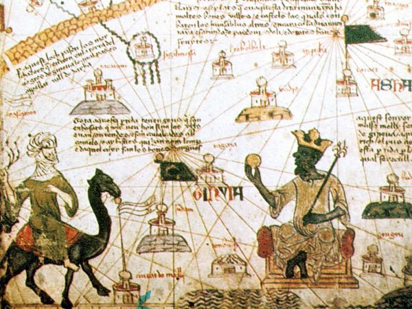 Mali: Mansa Musa, King of Mali, holding a sceptre and a piece of gold. Detail from the Catalan Atlas, 1375